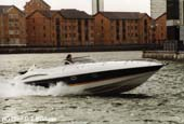 Stuntwoman Sarah Donohue in the Sunseeker powerboat